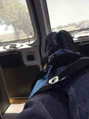 Mark Milliorn took this photo of his legs strapped to a gurney in the back of an ambulance on July 13.