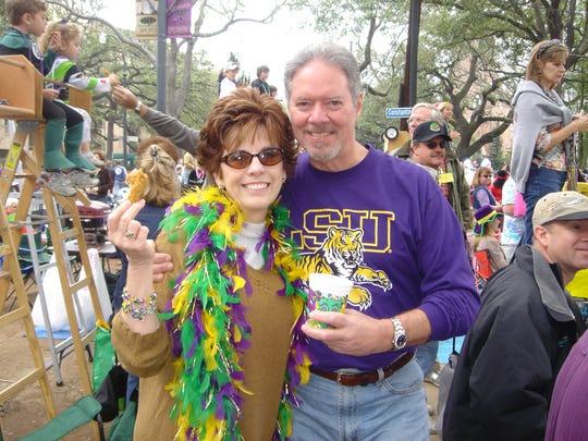 Sharon Keating and husband Wayne at Mardi Gras in 2005.