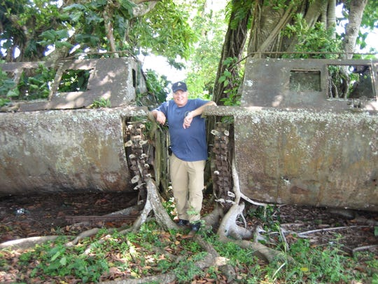 Vic Del Regno in Guadalcanal while retracing his father's wartime footsteps to make his film.