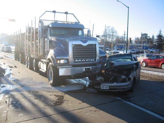 Semi-car crash Wednesday morning
