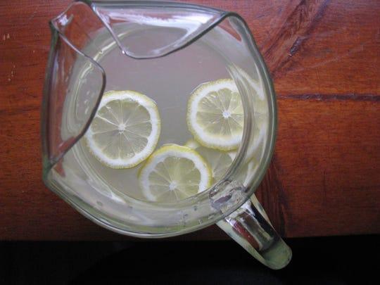 A pitcher of homemade lemonade.