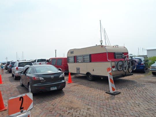 Patty Lillesand's 19-foot 1969 Trailblazer Travel Trailer waits in line for the Bayfield ferry to Madeline Island.