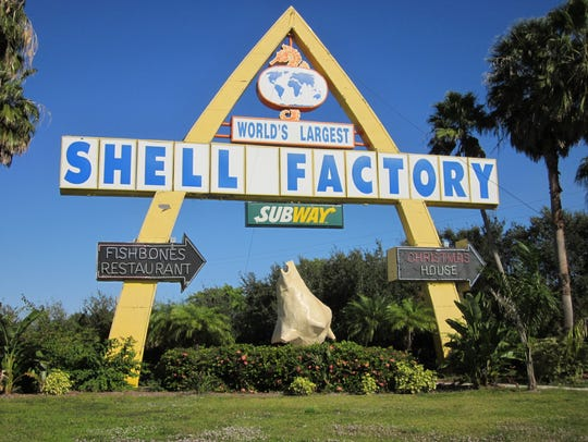 The Shell Factory's distinctive sign draws in people