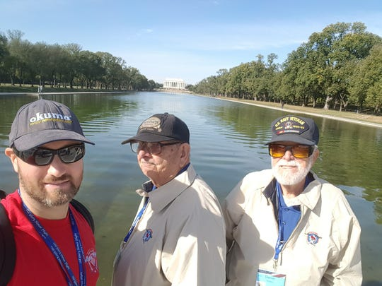 Ryan Otto recently accompanied two local veterans on a trip to Washington, D.C. Pictured, from left: Otto, Marvin Kilment, U.S. Korean War veteran and Daniel Holsen, U.S. Navy War veteran.