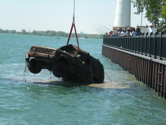 A Jeep Cherokee, discovered by someone who was fishing,