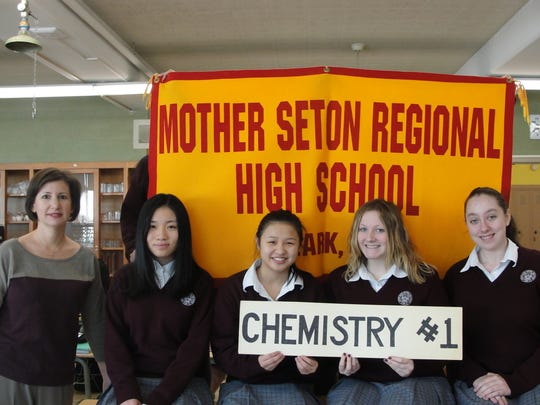 Left to right:  Jamie Cunningham, Chemistry Teacher, Xiaoyi Zhang, Cara Rose, Margaret Carney, Victoria Silverman