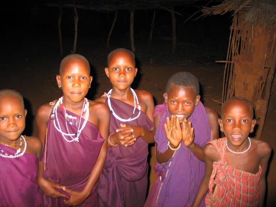 Some of the children in a Maasai village in Tanzania,