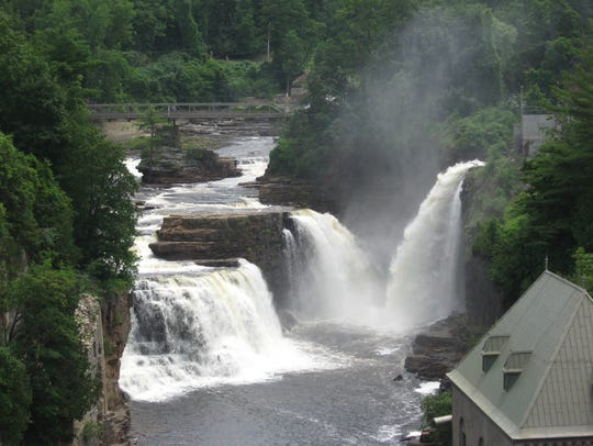 The waterfalls at the west end of Ausable Chasm.