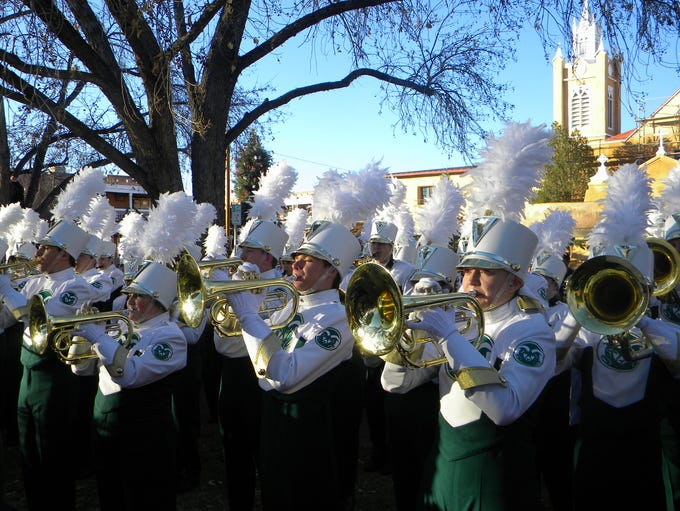 CSU's marching band performs Friday during a New Mexico