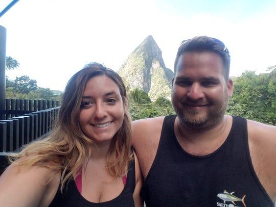Caitlyn and Eric Florczak of Brick on their honeymoon