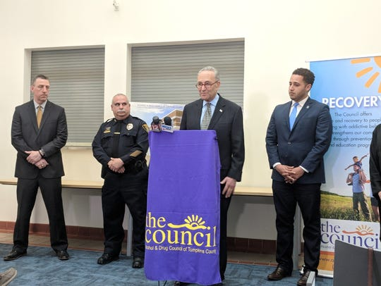 Senator Charles Schumer speaks at an announcement at