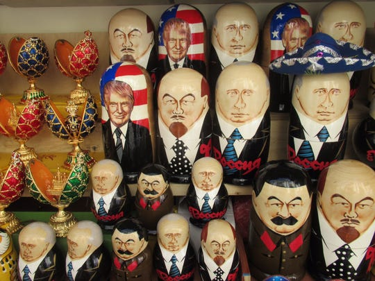 Political-themed Russian nesting dolls for sale at Peterhof Palace in Saint Petersburg, Russia.