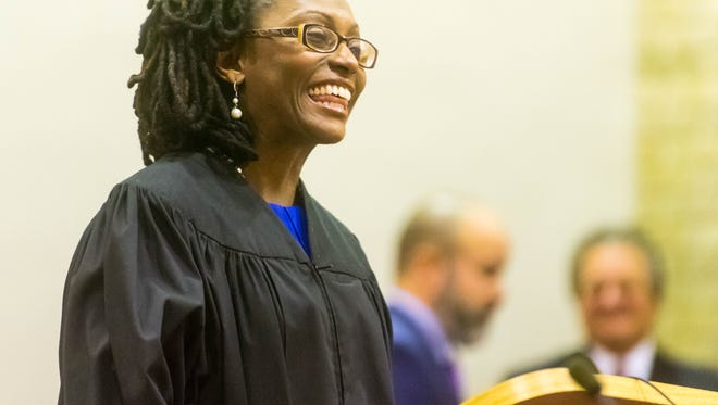 Demetrica Todd-Ruiz speaks after being sworn in as Judge of the Municipal Court of Vineland at City Hall on Thursday.