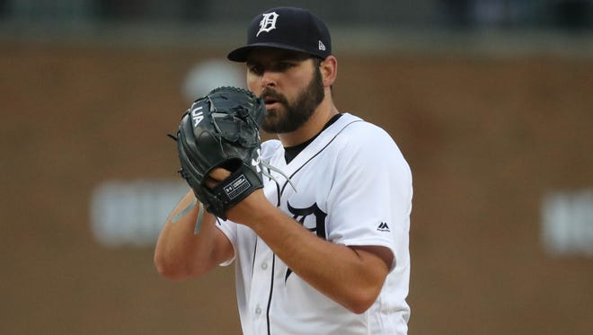 Detroit Tigers Michael Fulmer pitches against Seattle during first inning action Saturday, May 12, 2018, at Comerica Park in Detroit.