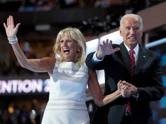 In this July 27, 2016 file photo, Dr. Jill Biden and Vice President Joe Biden wave after speaking to delegates during the third day session of the Democratic National Convention in Philadelphia.