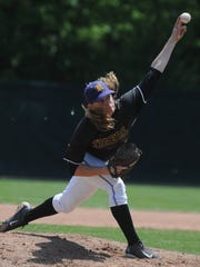 Hagerstown's Sam Reagan delivers a pitch to Seton Catholic