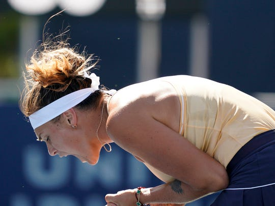 Aryna Sabalenka, of Belarus, reacts after winning a point against Zheng Saisai, of China, during the finals of the Mubadala Silicon Valley Classic tennis tournament in San Jose, Calif., Sunday, Aug. 4, 2019. (AP Photo/Tony Avelar)