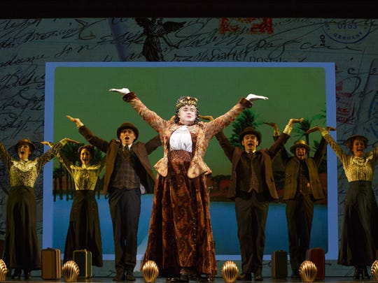 """The national touring cast with John Rapson as Lady Hyacinth D'Ysquith in """"A Gentleman's Guide to Love & Murder."""""""