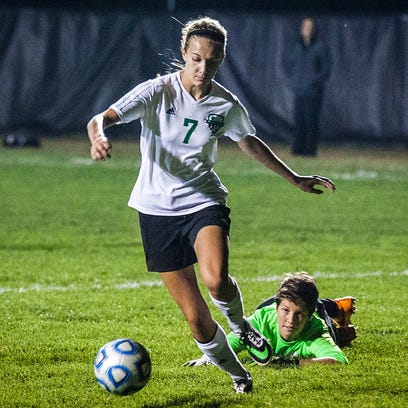 Yorktown's Hannah Rapp fights past Central goalie Riley
