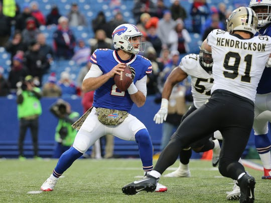 Bills backup quarterback Nathan Peterman saw some action