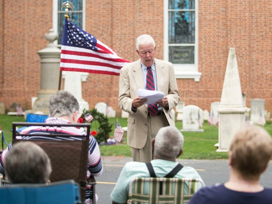 Judge John Thompson, reads the Declaration of Independence,
