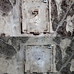 A United Nations Institute for Training and Research Operational Satellite Applications Program  image shows satellite views of the ancient city of Palmyra in central Syria before (top) and after (below) the explosion on 30 August at Palmyra's ancient Temple of Bel.