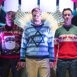 "Anthony Mackie, Seth Rogen and Joseph Gordon-Levitt are pals in holiday sweaters in ""The Night Before."""