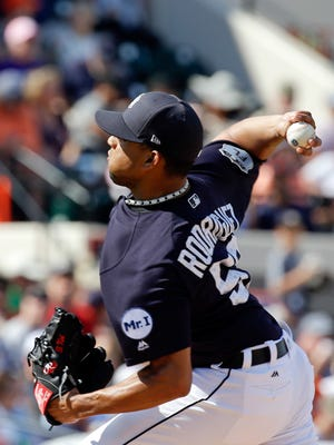 Detroit Tigers relief pitcher Francisco Rodriguez throws against the New York Yankees in the fifth inning Saturday, March 4, 2017, in Lakeland, Fla.