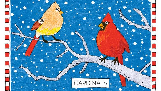 """James Hogarth, """"Cardinals,"""" drawing in pen and color markers"""