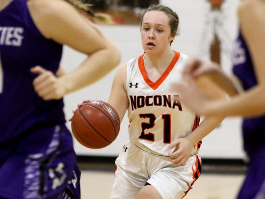 Nocona's Averee Kleinhans dribbles in the game against Jacksboro Tuesday, Jan. 30, 2018, in Nocona.