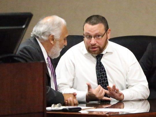 Daniel Villegas talks with his attorney, Joe Spencer,