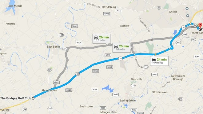 This Google map shows the route to bring the Wall that Heals to York County.