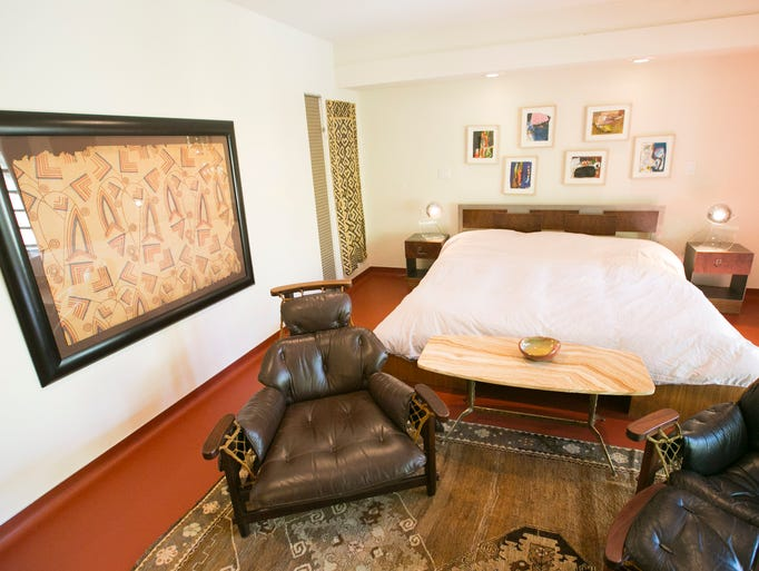 Master bedroom of the midcentury modern home in Phoenix