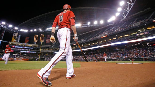 Arizona Diamondbacks center fielder A.J. Pollock (11) heads to the plate during a game against the San Diego Padres Wednesday, Sept. 16, 2015 in Phoenix, Ariz.