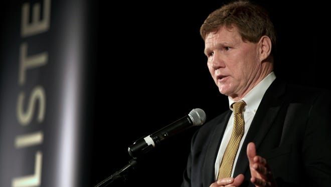 Green Bay Packers president Mark Murphy speaks at the Voices of Men breakfast Tuesday at the Radisson Paper Valley Hotel in Appleton.