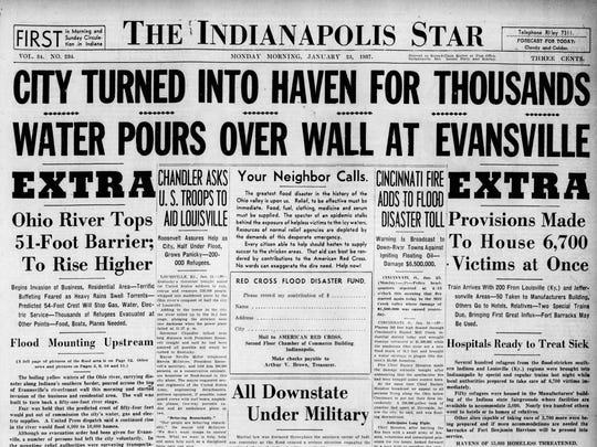 The front page of The Indianapolis Star on Jan. 25, 1937, carried stories about the flooding.