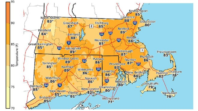 Afternoon high temperatures for Sunday, August 9.