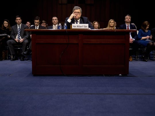 Attorney General nominee William Barr listens to a question as he testifies during a Senate Judiciary Committee hearing on Capitol Hill in Washington, Tuesday, Jan. 15, 2019. As he did almost 30 years ago, Barr is appearing before the Senate Judiciary Committee to make the case he's qualified to serve as attorney general. (AP Photo/Andrew Harnik)
