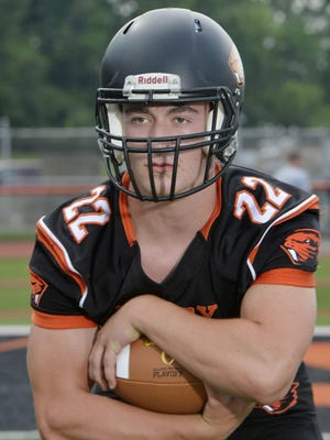 Landon Weis, RB/LB; Corry football, is shown July 9 at Corry Area High School.