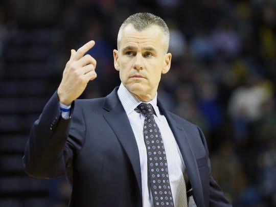 Dec 9, 2017; Memphis, TN, USA; Oklahoma City Thunder head coach Billy Donovan reacts against the Memphis Grizzlies at FedExForum. Oklahoma City won 102-101. Mandatory Credit: Nelson Chenault-USA TODAY Sports