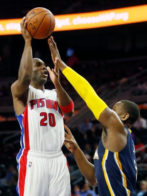 Detroit Pistons guard Jodie Meeks takes a shot against the Indiana Pacers on Oct. 6, 2015, in Auburn Hills.