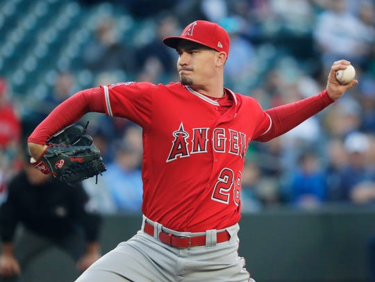 Los Angeles Angels starting pitcher Andrew Heaney