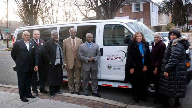 Union County Freeholders Linda Carter, Angel G. Estrada and Vernell Wright recently presented a new van that will provide free transport for senior citizens to Plainfield Mayor Adrian Mapp, Councilman Barry Goode, Councilwoman Joylette Mils-Ransome, Councilman Charles McRae and Plainfield Senior Citizens Service Center Director Sharron Mitchell-Brown. Goode was recently arrested and charged with driving while intoxicated.