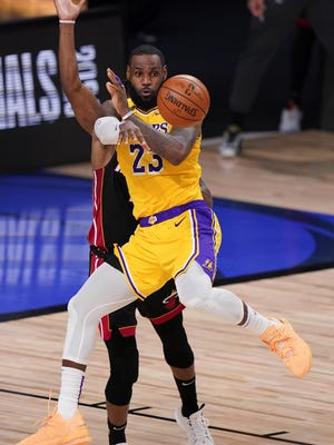 Los Angeles Lakers forward LeBron James plays against the Miami Heat Tuesday in Game 4 of the NBA Finals. James is 3-0 in finals close-out opportunities, and 3-1 leads in the title series are almost always turned into trophies.