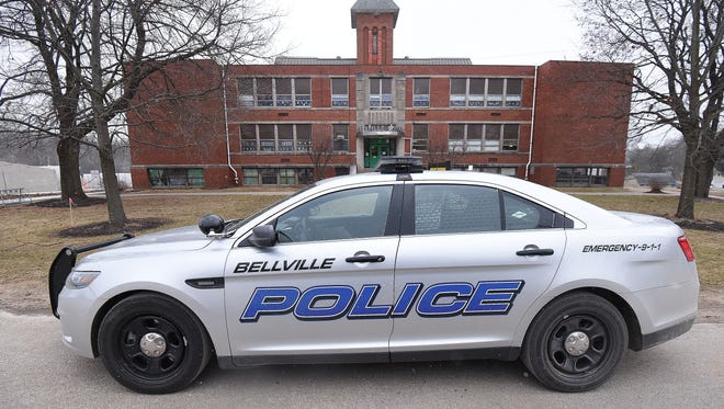 A police car sits in front of Bellville Elementary School on Friday morning. Clear Fork schools went on a perimeter lockdown Friday morning after a threat was reported.