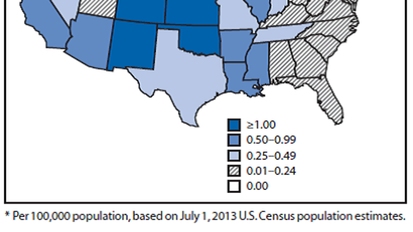 Incidence of reported cases of West Nile Virus disease per 100,000 people by state in 2013