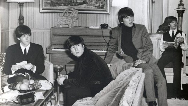 "Paul McCartney, John Lennon, George Harrison and Ringo Starr in ""A Hard Day's Night."""