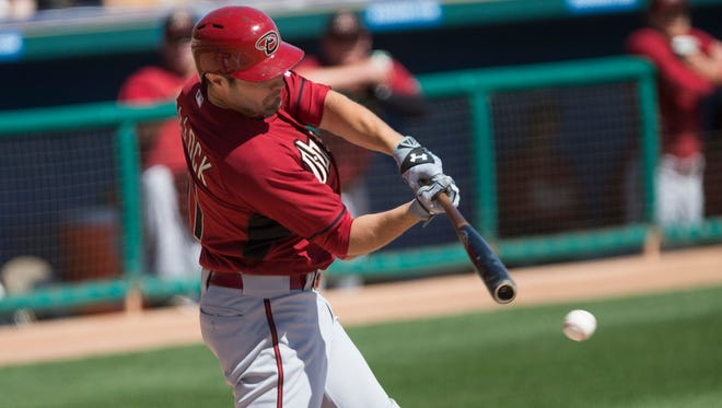 The Diamondbacks' A.J. Pollock connects for a single against the White Sox during spring training action at Camelback Ranch in on March 9, 2015.