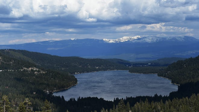 Donner Lake is seen near Truckee on May 26, 2015. Truckee police found the body of one missing canoeist and were searching for the other missing person Saturday at Donner Lake