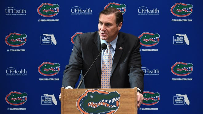 Florida Gators head football coach Dan Mullen speaks during an introductory press conference at the Bill Heavener football complex on November 27, 2017 in Gainesville.